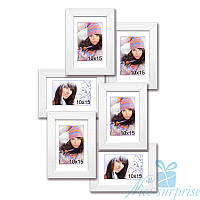 Рамка для фото Аврора на 6 фотографий 10х15, антибликовое стекло (белый)