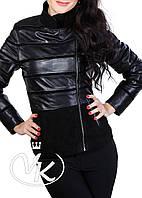 Черная кожаная куртка со съемным воротником, фото 1
