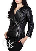Черная кожаная куртка с коротким рукавом