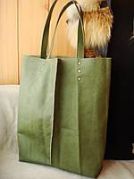 """Стильная сумка """"Шопер"""" из зеленой кожи, производитель Украина ."""