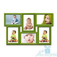 Рамка для фото Диана на 6 фотографий 10х15, антибликовое стекло (зелёный)