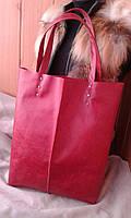 """Стильная сумка """"Шопер"""" из  красной натуральной кожи, производитель Украина ."""