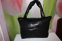 Женская дутая черная сумка