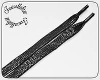 Шнурок плоский пропитка узкий (8мм) черный 1.2м
