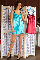Стильная  ночная сорочка голубого цвета