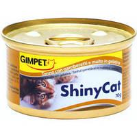 Консервы Gimpet ShinyCat с тунцом, креветками и мальт для котов 70 гр.