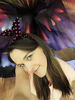 Повязка для волос черная в розовый горох, фото 1