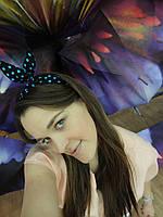 Повязка для волос черная в голубой горох, фото 1