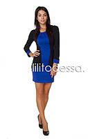 Платье с имитацией жакета синий