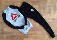 Мужской Спортивный костюм Reebok с черным рукавом(большой красный принт)