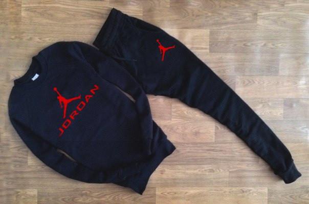 Мужской Спортивный костюм черный Jordan (с красным принтом)