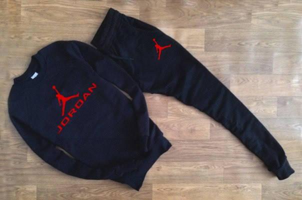 Мужской Спортивный костюм черный Jordan (с красным принтом), фото 2