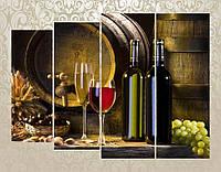 """Модульная картина """"Белое и красное вино"""""""