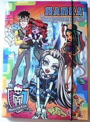 Папка картонная для труда «Monster High», с глиттером (с блестками), картонная на резинке
