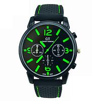 Мужские наручные часы GT Grand Touring спортивные силиконовый ремешок (зеленые цифры)