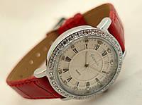 Часы женские Guardo - Italy, цвет серебро, красный ремешок