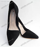 Женски туфли лодочки замшевые каблук 9,5см