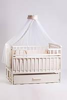 Кроватка детская трансформер с шкафчиком(ваниль) 120 х 60_ольха