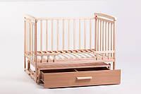 Кроватка детская трансформер с шкафчиком(натуральная) 120 х 60_ольха