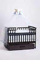 Кроватка детская трансформер с шкафчиком(орех) 120 х 60_ольха, фото 1
