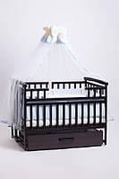 Кроватка детская трансформер DeSon с шкафчиком Орех., фото 1