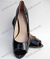 Женски туфли (с открытым носком) лодочки лаковая кожа каблук 10,5см