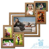 Фоторамка Анфиса на 7 фотографий, брашированная, антибликовое стекло (светлое дерево)