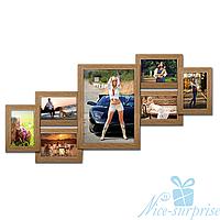 Фоторамка Изабелла на 7 фотографий, брашированная, антибликовое стекло (светлое дерево)