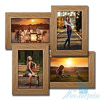 Рамка для фотографий Мельница на 4 фотографии 10х15, брашированная, антибликовое стекло (светлое дерево)