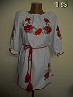 Вышитое маками белое детское платье