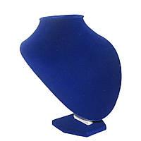 Синяя бархатная подставка шея 22см для колье и подвесок