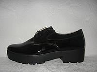 Туфли оксфорды женские лаковые черные