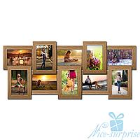 Мультирамка Классическая на 10 фотографий 10х15, брашированная, антибликовое стекло (светлое дерево)