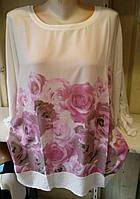 Блуза с розами женская батальная, фото 1
