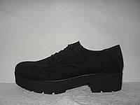 Туфли - оксфорды женские стильные замшевые черные