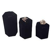 Чёрный бархатный набор подставок на одно кольцо, фото 1