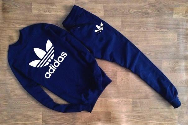 Мужской Спортивный костюм т.синий Adidas (с большим принтом), фото 2