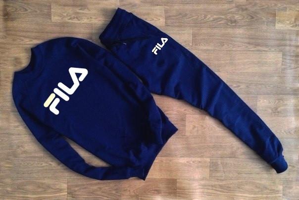 Мужской Спортивный костюм FILA т.синий с большим принтом