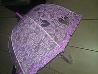 Зонт детский прозрачный с рюшиками фиолетовый