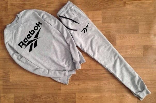 Мужской Спортивный костюм Reebok серый (черный принт)