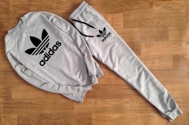Мужской Спортивный костюм Adidas серый (черный принт)