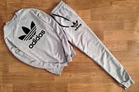 Мужской Спортивный костюм Adidas серый(черный принт)