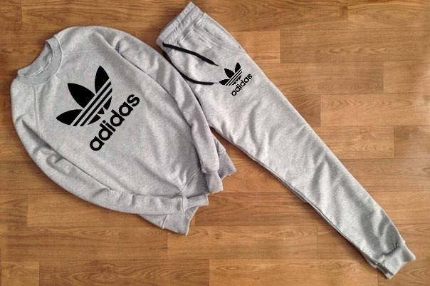 Мужской Спортивный костюм Adidas серый (черный принт), фото 2
