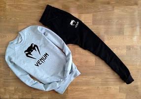 Мужской Спортивный костюм Venum серый (черные штаны)