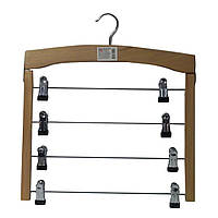 Деревянная вешалка плечики на четыре перекладины с прищепками для брюк
