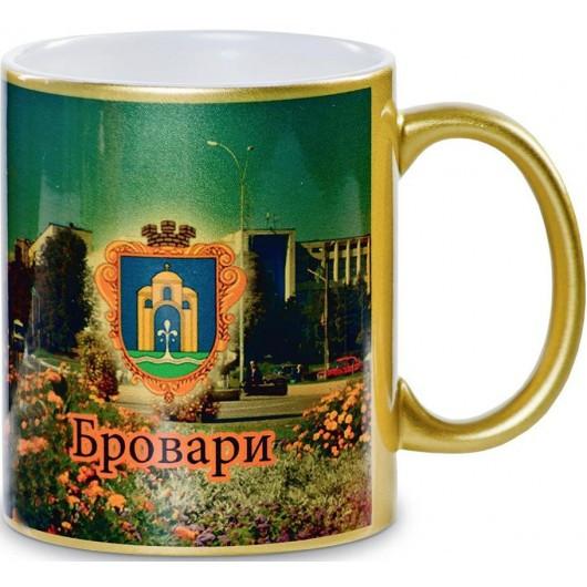 Чашка керамическая золотистая под сублимационную печать