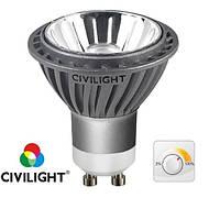 Светодиодная тепло белая лампа DGU10 KC50T7 CRI95 диммируемая 7Вт 220вольт CIVILIGHT 9019