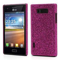 Чехол накладка Glam Shine для LG Optimus L7 P700 P705, малиновые блестки