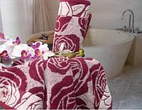 """Полотенце (50х90 см) махровое """"Аврора"""" для лица, розы"""