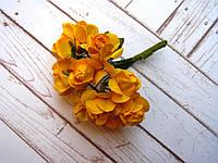 Букет бумажных роз, 12 шт, желтые